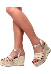Sandália De Corda Damannu Shoes Melanie Champagne Marfim