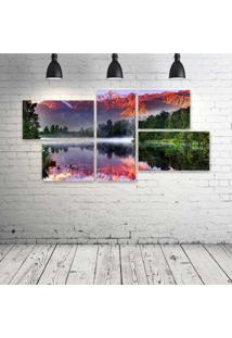 Quadro Decorativo - Red-Rocky-Mountains - Composto De 5 Quadros - Multicolorido - Dafiti
