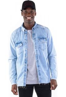 Camisa Jeans Detonados Delave