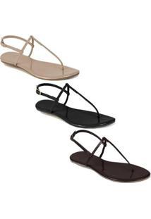 Kit Rasteira Mercedita Shoes Verniz Feminina - Feminino-Preto