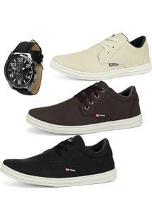 Kit Com 3 Sapatenis Cr Shoes Casuais Sintético Com Relógio Areia/Café/Preto