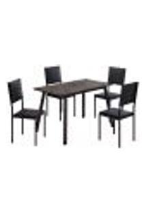 Conjunto De Mesa Com 4 Cadeiras Giovana Preto