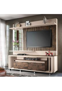 Estante Para Home Theater E Tv Até 60 Polegadas Eclipse Marrom Deck E Off White