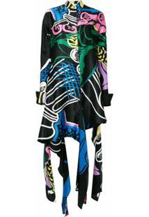 Jw Anderson Vestido 'Foxglove' Em Seda E Algodão - Preto