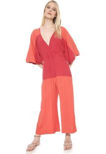 Macacão Dress To Pantacourt Bicolor Coral/Vermelho