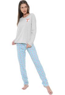 Pijama Moletom Laibel Estampado Cinza/Azul