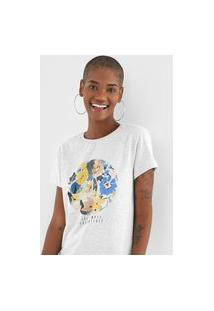Camiseta Fiveblu Flores Cinza