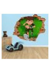 Adesivo De Parede Buraco Falso 3D Infantil Ben 10 - G 82X100Cm