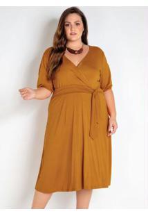 Vestido Plus Size Laranja Com Amarração