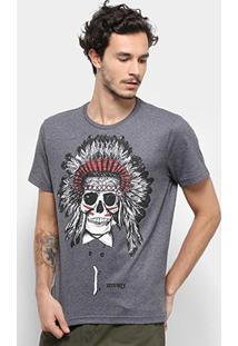 Camiseta Stanley Caveira Cocar Masculina - Masculino-Cinza