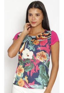 Blusa Floral Com Recorte- Rosa & Verdecarmen Steffens