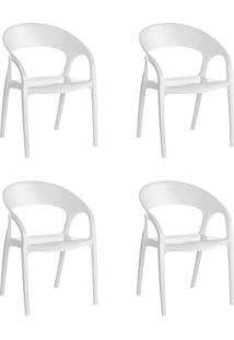 Kit 4 Cadeiras Glass Plus Em Polipropileno Kappesberg Branco