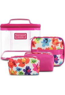Kit Necessaire De 4 Unidades Jacki Design Microfibra + Pvc - Feminino-Pink