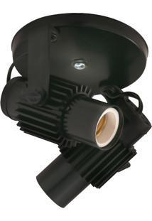 Spot Aleta Soquete E-27 Para 02 Lâmpadas - Startec - Preto