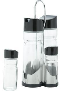 Conjunto 5 Peças Galheteiros De Vidro C/Tampa De Plástico Preto Donatello 11X10X20Cm