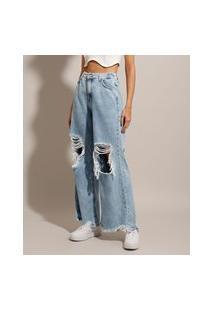 Calça Wide Pantalona Jeans Destroyed Marmorizada Cintura Super Alta Azul Claro