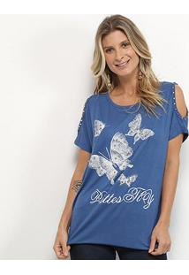 Blusa Pérola Butterfly Feminina - Feminino-Azul