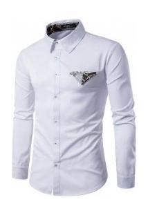 Camisa Masculina Slim Fit Manga Longa Com Estampa - Branco