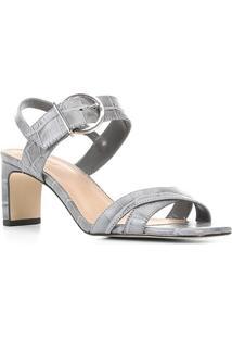 Sandália Couro Shoestock Croco Fivela Feminina - Feminino-Cinza
