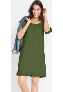 Vestido Com Babado Verde Militar