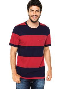 Camiseta Levis Listras Azul/Vermelho