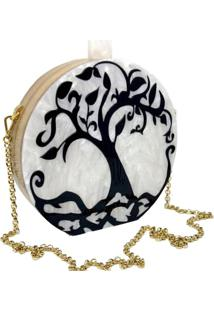 Bolsa La Madame Co Clutch Garden Tree Branca