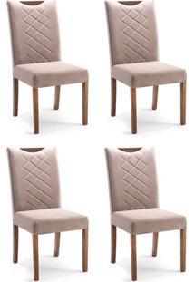 Conjunto Com 4 Cadeiras De Jantar Estela Marrom Claro E Imbuia