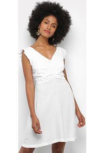 Vestido Mercatto Manga Curta Babado - Feminino-Branco
