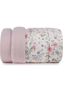 Edredom Solteiro Altenburg Malha In Cotton 100% Algodáo Vivacitá - Rosa Rosa - Tricae