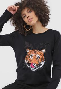 Blusa My Favorite Thing(S) Tricot Tigre Preta