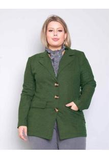 Casaco Palank Plus Size Alfaiataria Flanel Feminino - Feminino-Verde