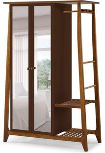 Guarda-Roupa Solteiro Stoka Com Espelho 2 Pt Nogal E Marrom Escuro