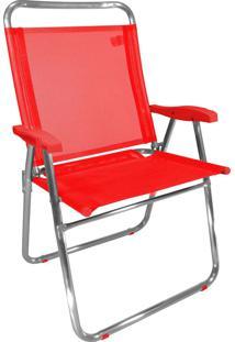 Cadeira De Praia King Zaka Em Alumínio Até 140 Kg Vermelha
