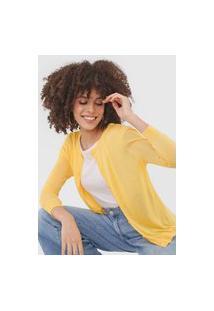 Cardigan Vero Moda Botões Amarelo