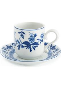 Jogo De Xícaras De Café Com Pires Em Porcelana Flor De Cobalto 6 Peças
