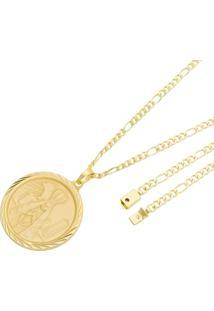 Pingente Nossa Senhora Com Corrente Italiana Fígaro Tudo Joias Fecho Gaveta Folheado A Ouro 18K Dourada