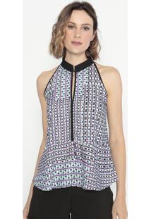 Blusa Geométrica Com Recortes- Azul & Roxa- Cotton Ccotton Colors Extra