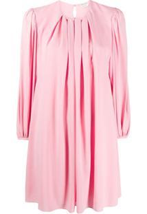 Alexander Mcqueen Vestido Reto Com Pregas - Rosa