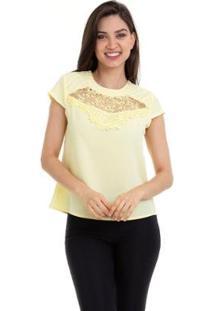 Blusa Crepe Renda E Tule No Decote Feminina - Feminino-Amarelo