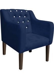 Poltrona Decorativa Lisa Suede Azul Marinho Com Strass - D'Rossi