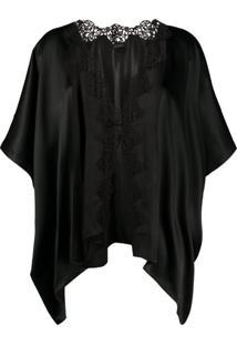 La Perla Kimono Com Recorte De Renda - Preto