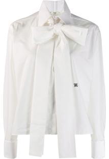 Fendi Maxi-Bow Taffeta Blouse - Branco