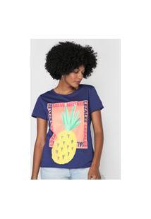 Camiseta Lez A Lez Abacaxi Azul-Marinho