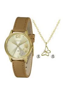 Kit Relógio Feminino Lince Analógico Lrcj134L Kz27C2Mx + Brinco + Colar Dourado