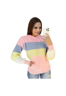 Blusa De Trico Tricot Feminina Colorida Com Capuz E Bolso Rosa
