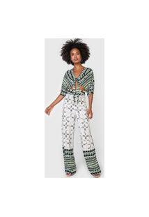 Macacão Forum Pantalona Geométrico Off-White/Verde