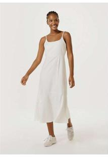 Vestido Fit And Flare Midi Com Linho Off-White