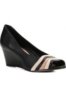 Peep Toe Couro Shoestock Anabela Bicolor - Feminino-Preto+Off White
