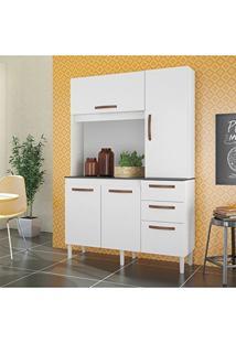 Armário De Cozinha 4 Portas 3 Gavetas Noz Albatroz Móveis Branco