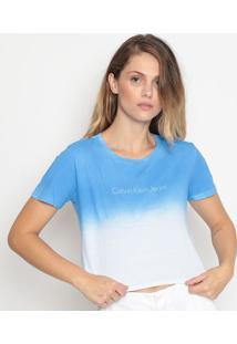 """Blusa Cropped """"Calvin Kleinâ®"""" - Azul & Brancacalvin Klein"""